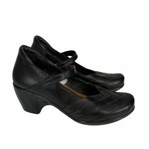 Naot Mary Jane Black Leather Mule Heels Size 9